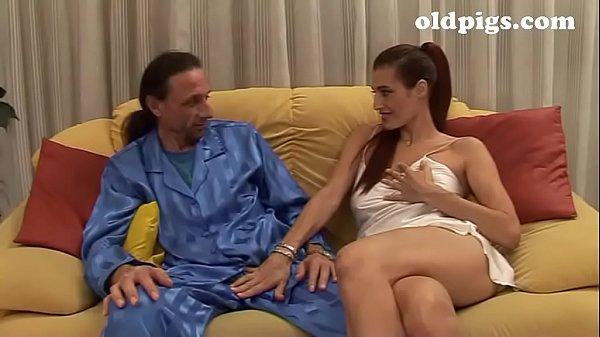 Amazing mature brunette seduces a young man for...