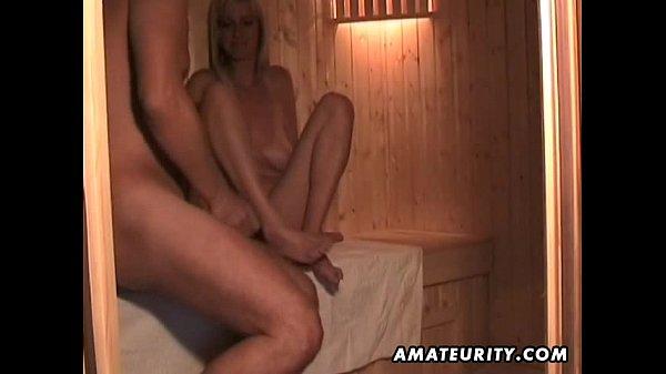 Amateur wife masturbates sucks and fucks with cum in mouth