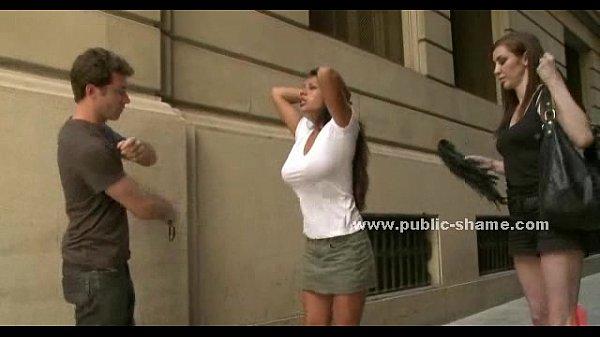 Busty slut on high heels public d.