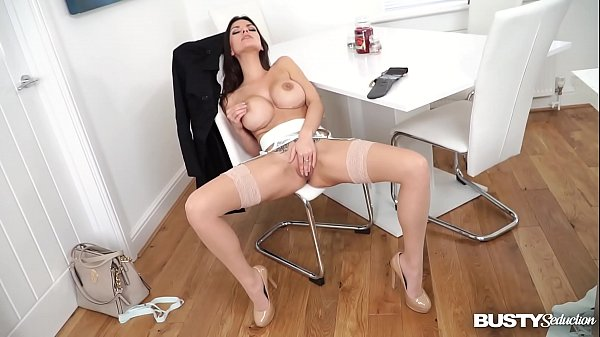 Busty seduction Krystal Webb squeezes her big titties & masturbates for you