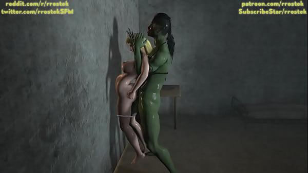 Sophitia Alexandra fucked hard by Futanari Orc 3D monster porn