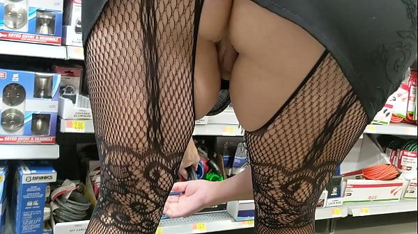 Wife in full body see-through stockings shopping in walmart.