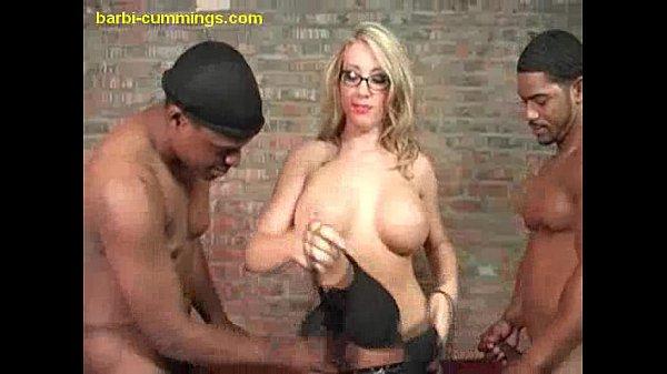 Blonde Sucks Double Black cocks