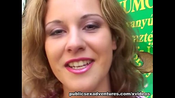 Public blowjob from blonde in red dress