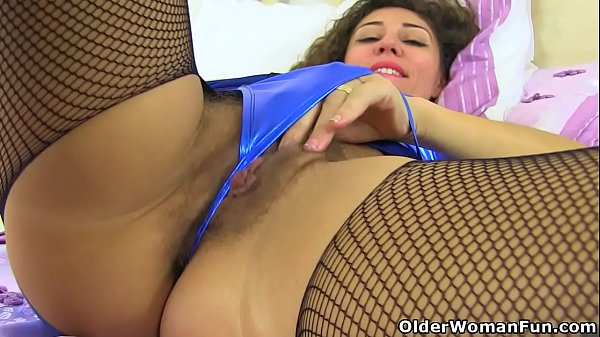 Hairy milf French Chloe wears crotchless fishnet pantyhose