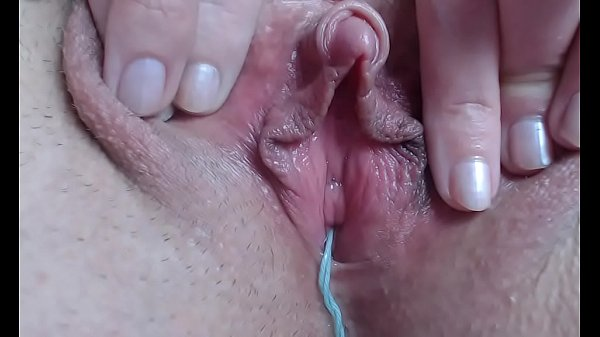 Close up orgasm with tampons inside big clit pussy wet masturbation