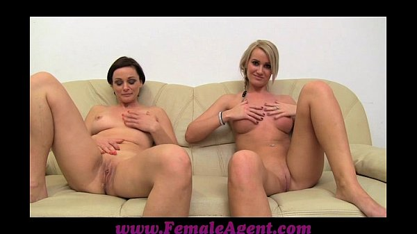 FemaleAgent MILF masturbates with lucky girls on the couch