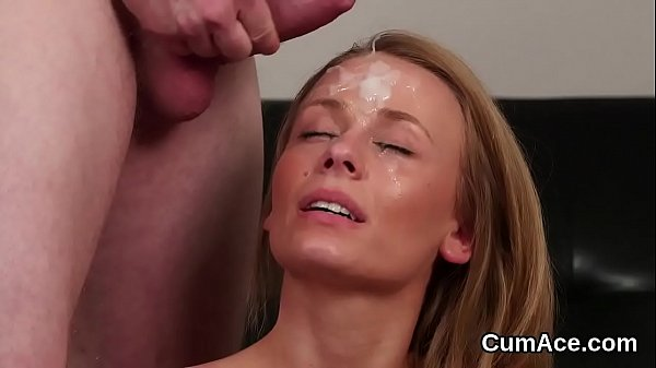 Frisky peach gets cumshot on her face swallowing all the spunk