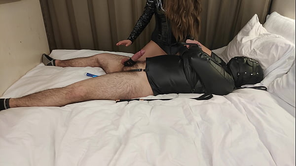 Leather Bondage, Facesitting & Teasing By Femdom Mistress In Thigh High Boots Thumb