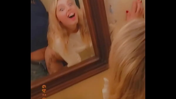 Quick Bathroom Suck and Mirror Fuck at Tiny Teens Parents Family Get Together