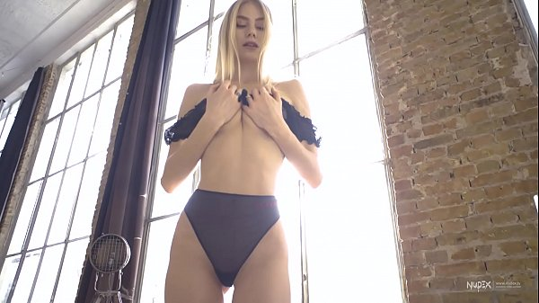 Sexy Nancy A teasing in black lingerie with her perfect body for Nudex