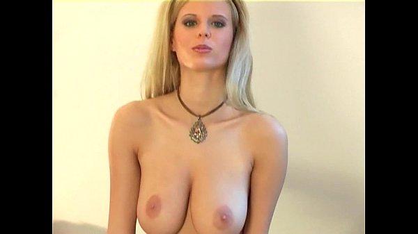 Hot blonde lingerie tease in seamed stockings