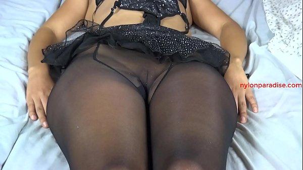 Sandy Luna black sheer pantyhose tease only Thumb