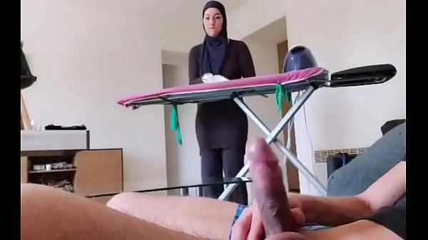OMG !! He pulls out his cock in front of this muslim maid!!