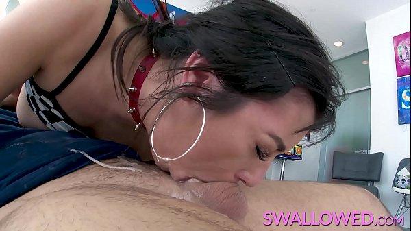 SWALLOWED Throat fucking petite brunette Brooklyn Gray