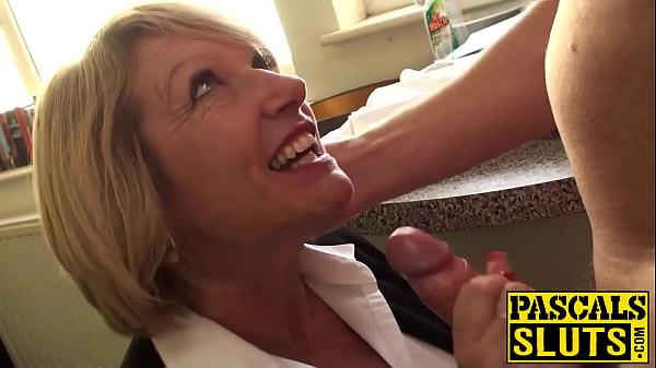 Blonde English MILF sucks hard cock while being a cute sub Thumb
