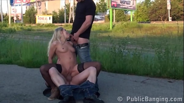 Cute blonde girl PUBLIC street gangbang by guys with big dicks in broad daylight