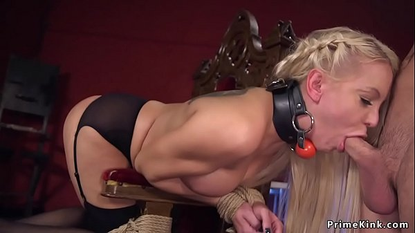 Blonde in St Andrews cross bondage banged