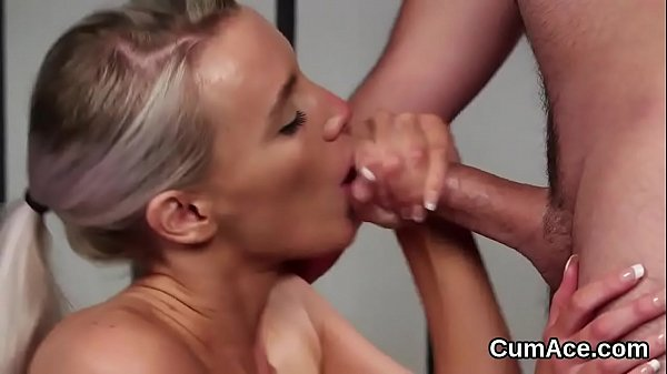 Foxy hottie gets cum shot on her face gulping all the jism