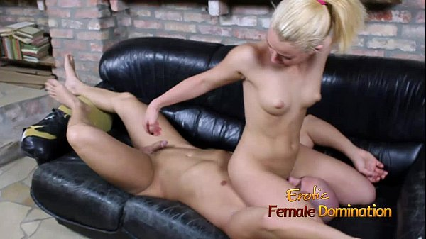Blonde facesits on bald submissive