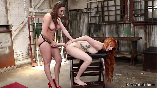Redhead is anal fucked in lezdom