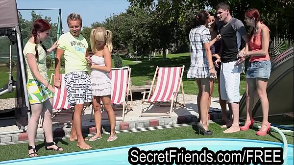 Pool Party Orgy 2 guys 5 chicks Secret Friends Thumb