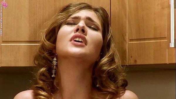Beautiful bitch Olivia La Roche masturbates on the kitchen with banana