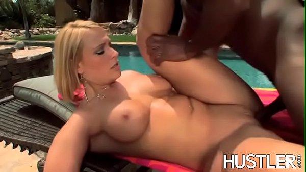 Blonde Mellanie Monroe cuckolds with BBC poolside