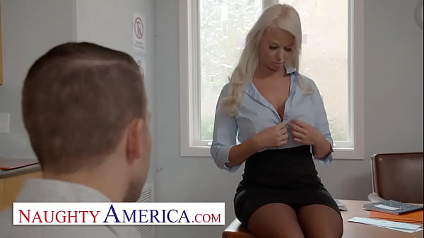 Naughty America - Hot MILF teacher, London River, hooks up with her student in the classroom for a passing grade