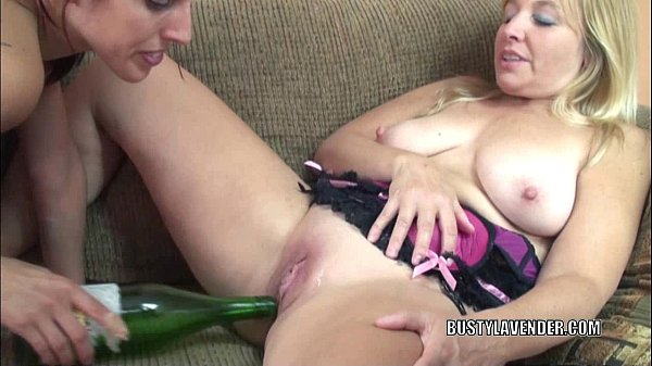 Busty wives Liisa and Lavender Rayne play with bottles
