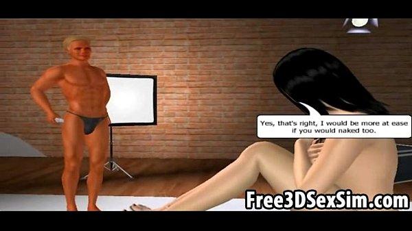 Foxy 3D cartoon brunette babe getting a massage