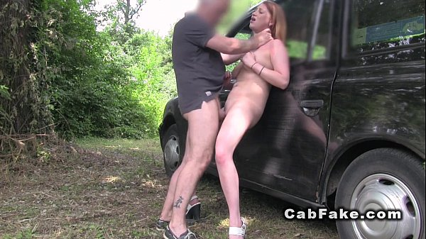 Fake taxi driver fucks babe outdoor