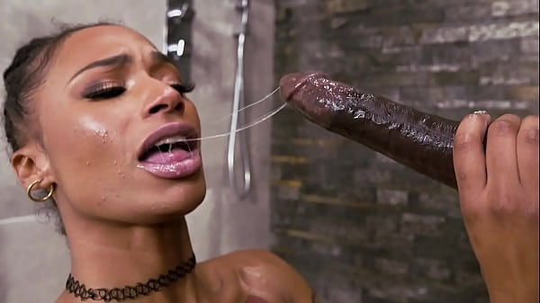 Hot black milf gives a sloppy BJ then gets fucked hard - ebony porn