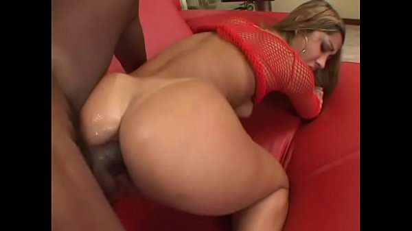 Nasty blonde seniorita in red fishnet outfit Lana is not against to be driven at Hershey highway by well stuffed chocolate stud Thumb
