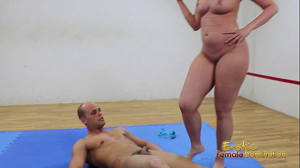 Brunette on mat controls her submissive man tb3 Thumb