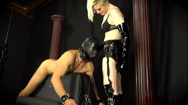 "Becoming Her Fucktoy - A Mistress dons a strap-on cock and fucks Her bound and blindfolded slave boy as a part of his ""girl training""."