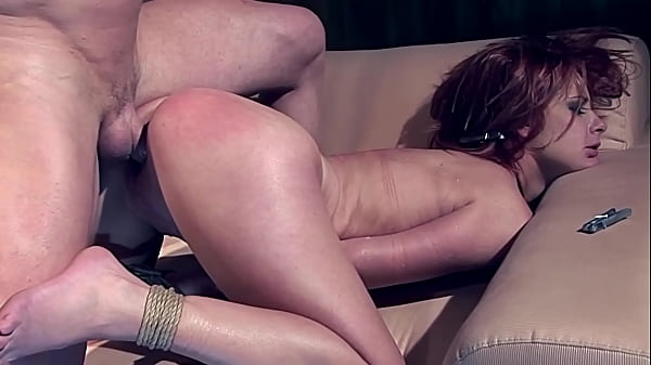 Redhead Angelina Blue. Part 3. She pees into her bowl, after her Master fucks her roughly.