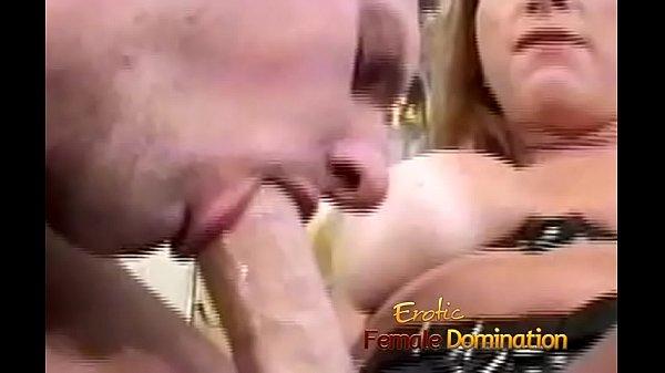 Dominant milf makes her slave take a dildo in t...