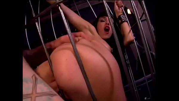Hot girl kept on a cage and fucked by tatooed man
