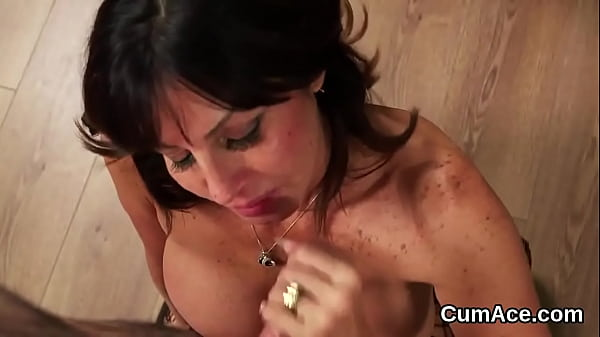 Nasty hottie gets cum load on her face sucking all the cum