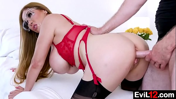 Busty stepmom in glasses fucks with stepson from behind Thumb