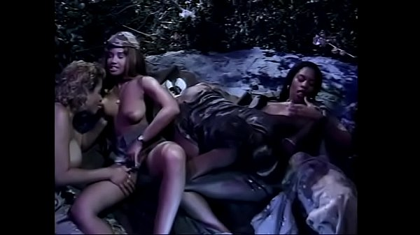 Military lesbians in outdoors foursome in the h...