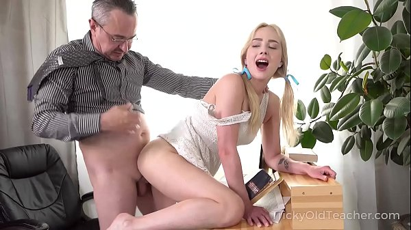 Tricky Old Teacher - Cute blonde works hard to get education