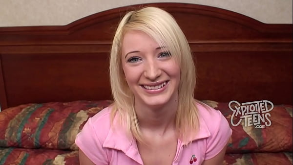 Petite blue-eyed blonde teen makes her porn debut