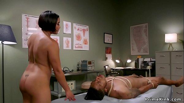 Asian doctor wanking big black cock