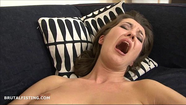 Brunette lesbian brutally fisting her friends tight pussy