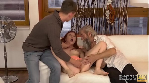 DADDY4K. Submissive redhead enjoys pussy fingering for bearded daddy