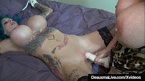 Round Boobed Cougar Deauxma StrapOn Fucks Busty Harlynn Rae!