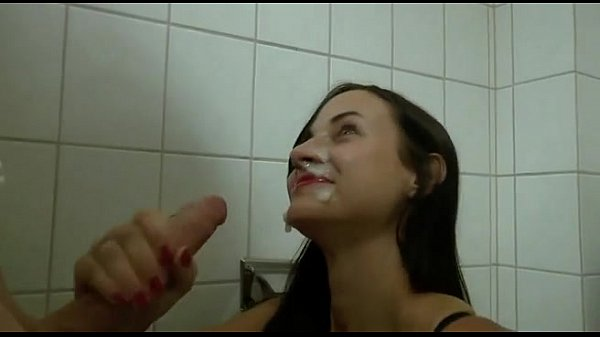 Fuck and blowjob in public toilet