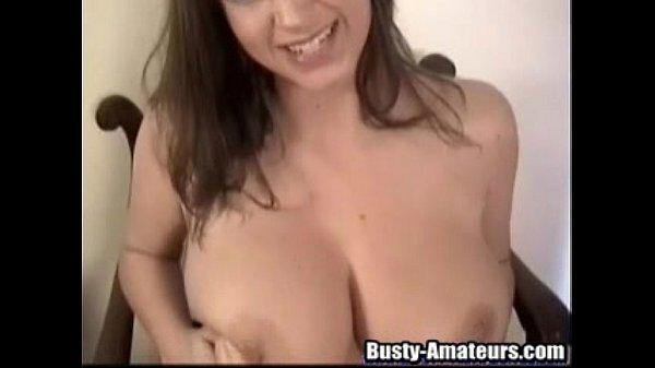 Busty Sara with a huge dildo